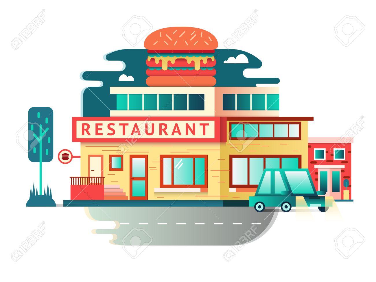 Restaurant building flat design architecture facade food cafe construction vector illustration stock vector
