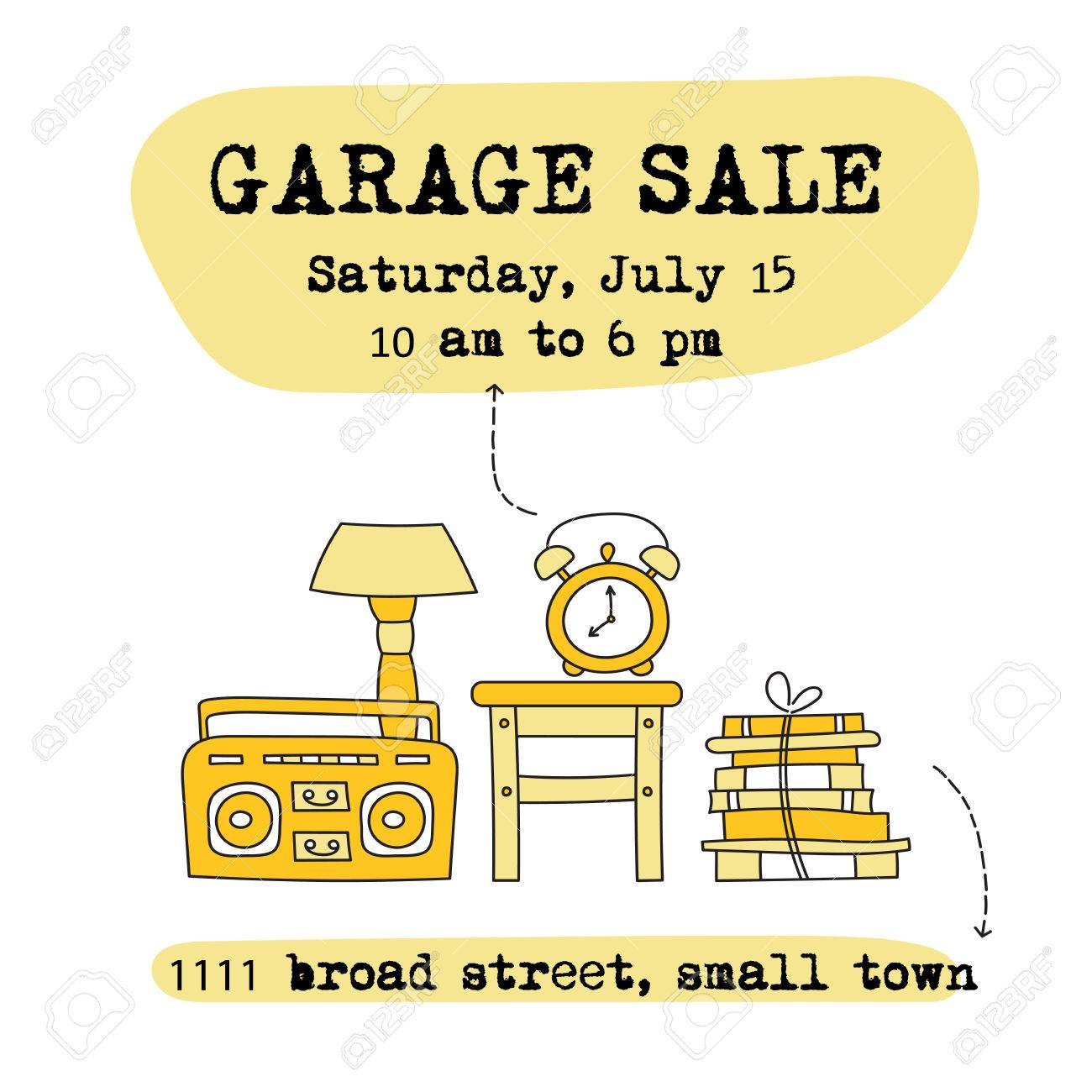 Garage Sale Website Garage Sale Household Used Goods Square Banner Template For