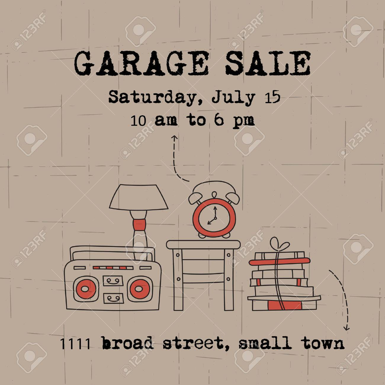 Garage Sale Website Garage Sale Household Used Goods Vector Square Banner Template