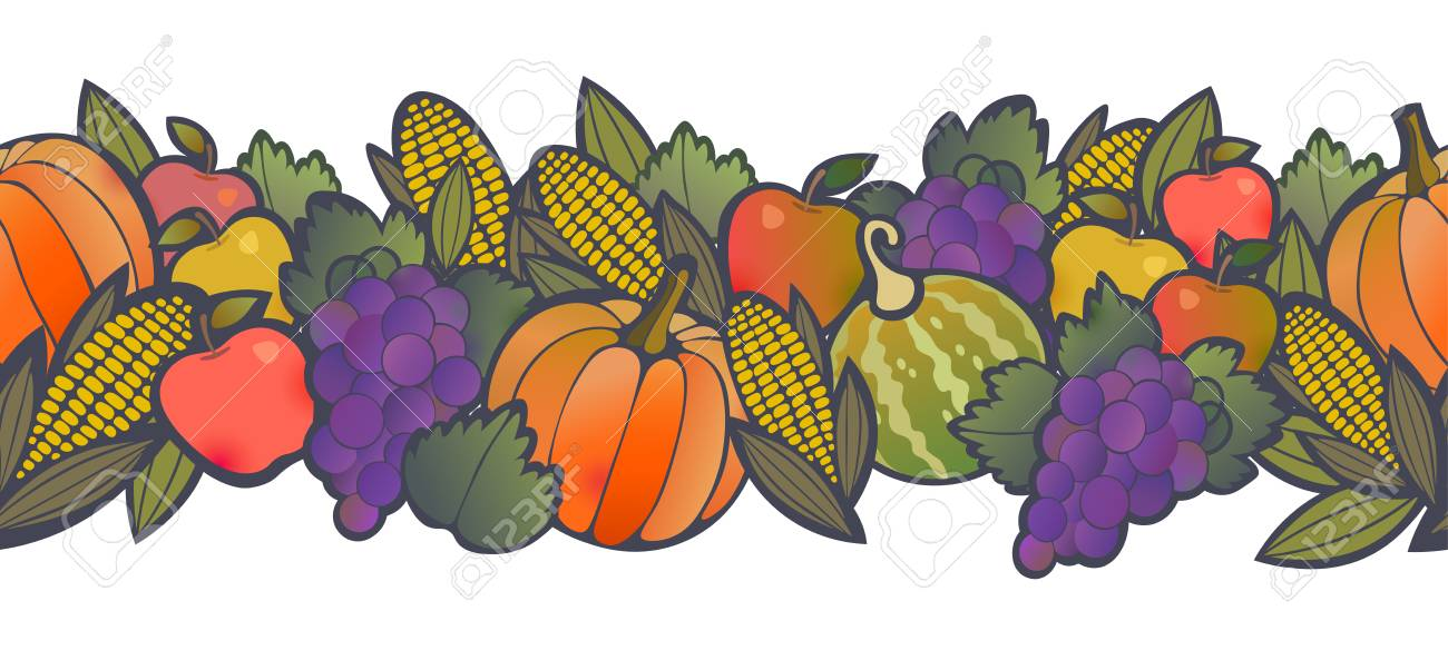 Autumn Harvest Seamless Border With Fruit And Vegetables Happy