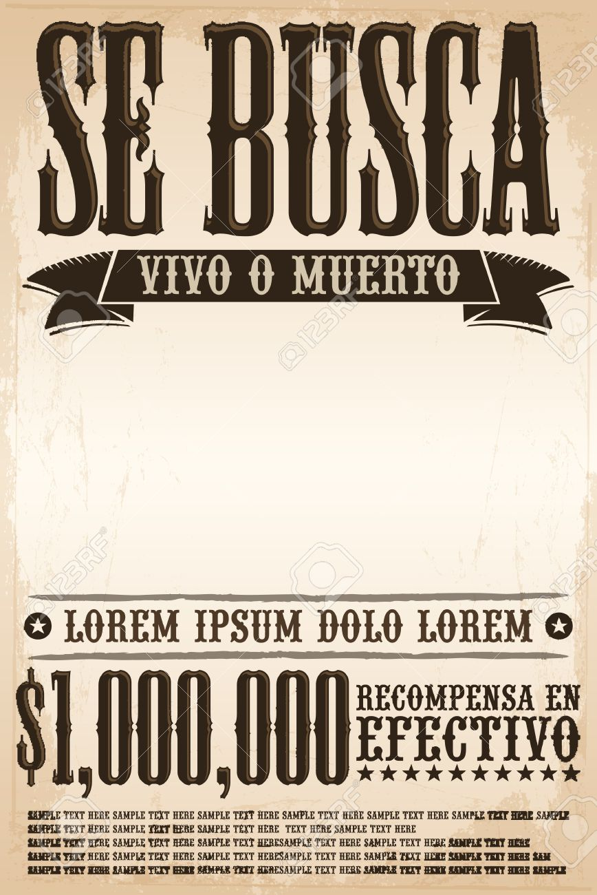 Poster In Spanish Se Busca Vivo O Muerto Wanted Dead Or Alive Poster Spanish Text