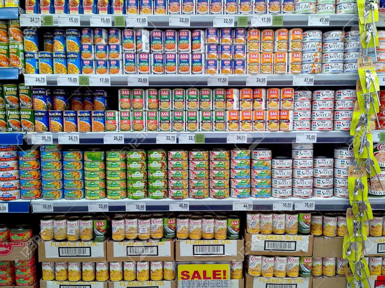 Store En Stock Canned Fish And Tuna Sold In A Grocery Store