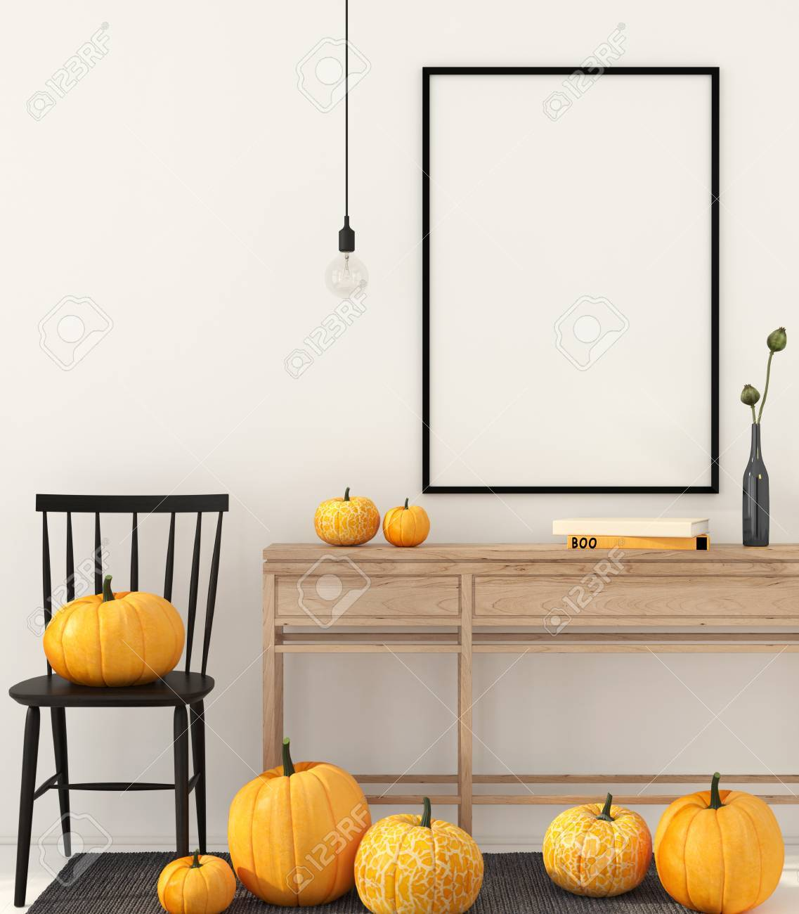 Halloween Decoration Interieur 3d Illustration Mock Up Interior With Autumn Decorations For