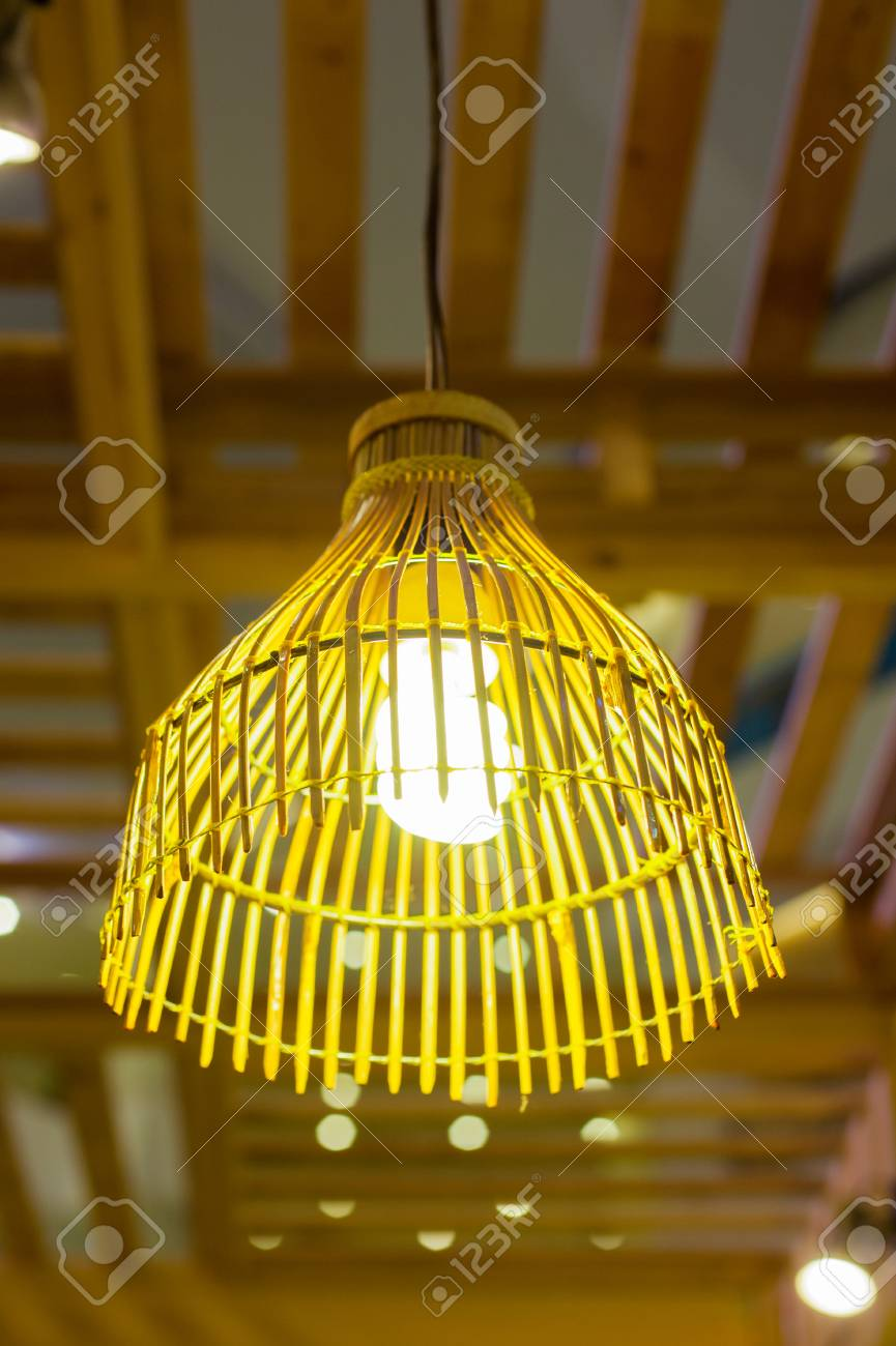 Design Holzlampe Stock Photo