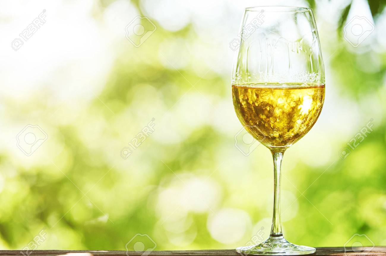 Chardonnay Wine Glass Glass Of Chardonnay Sauvignon Or Rkatsiteli White Wine Over
