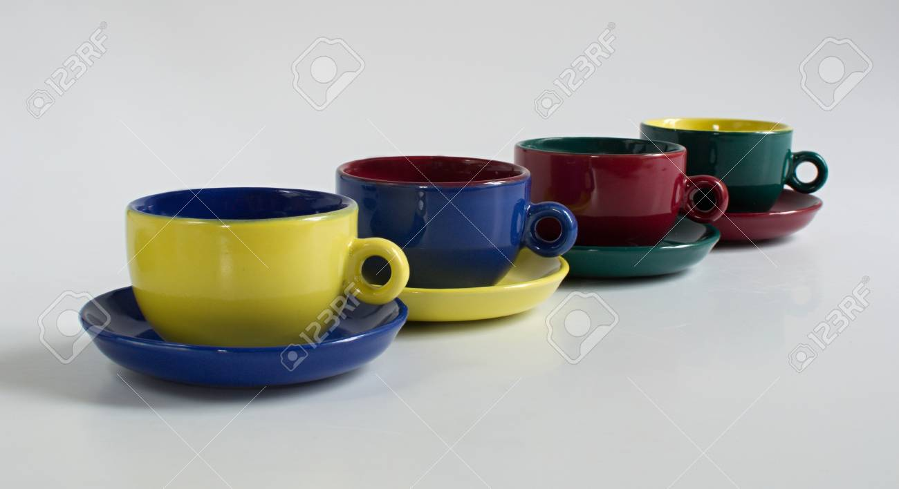 Small Coffee Cups And Saucers Set Of Varicolored Small Cups With Saucers