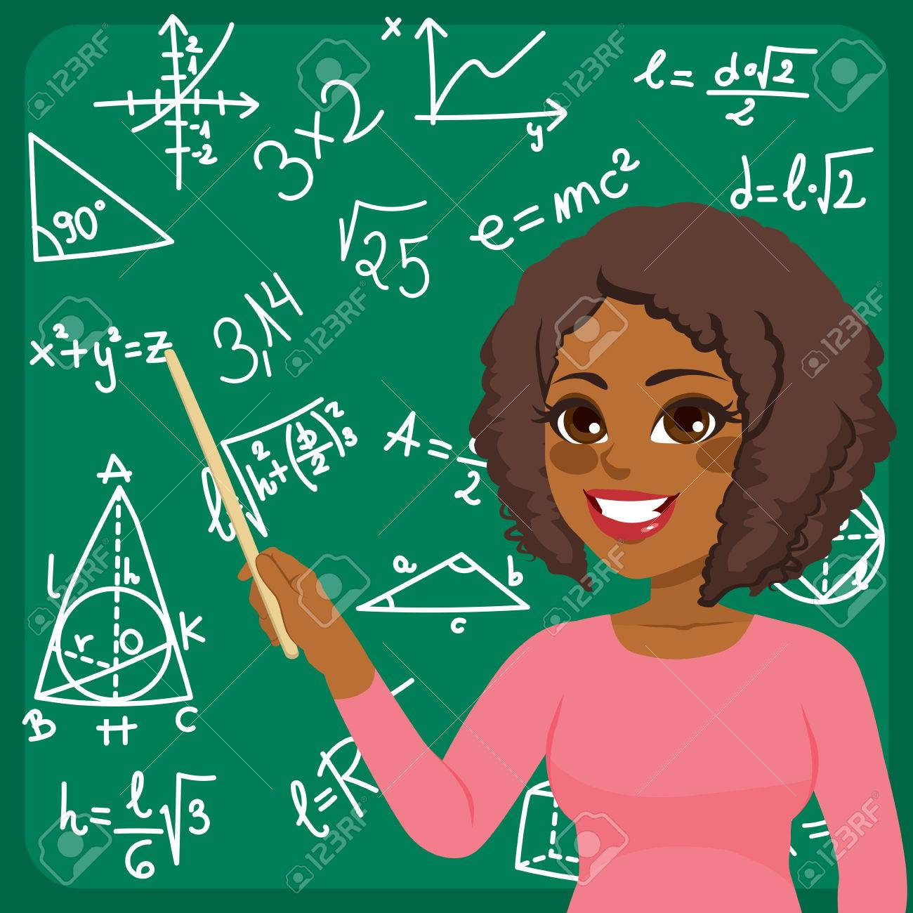 Teaching Maths Beautiful Young African American Woman Scientist Teaching Maths