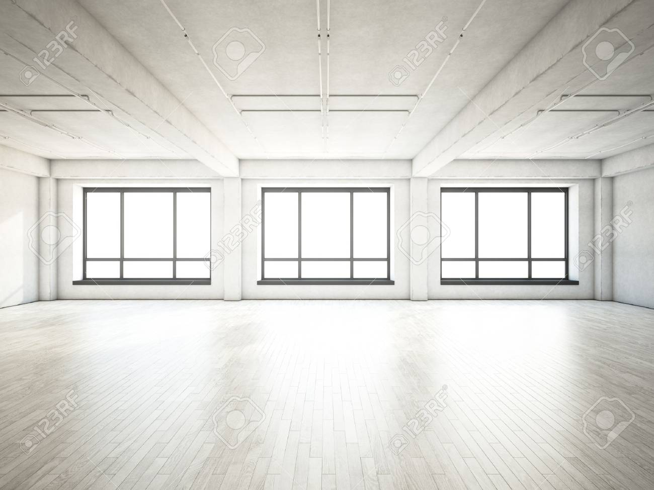 Empty living room with large windows can be as background stock - Empty Living Room With Large Windows Can Be As Background Stock Studio Wall Background White Download