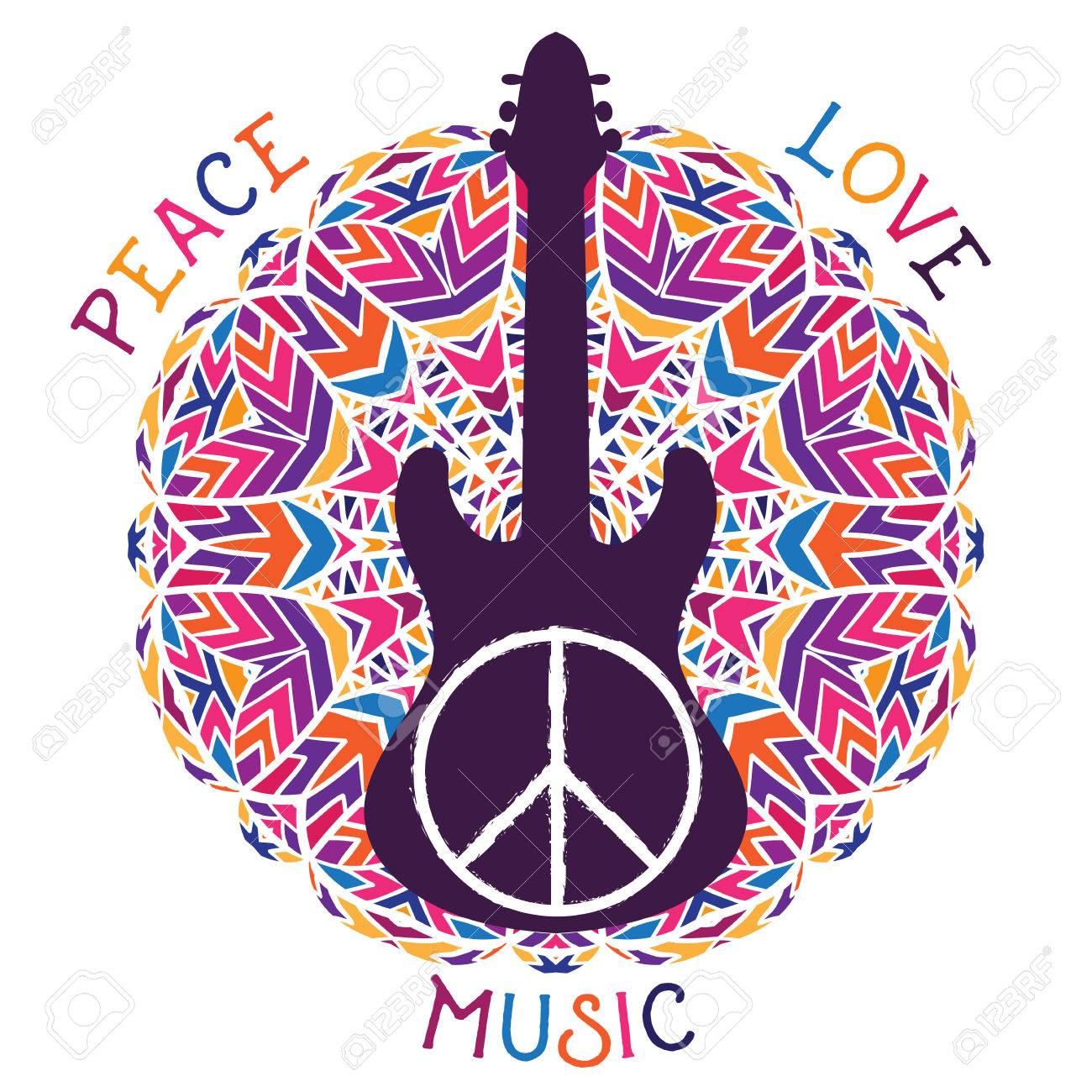 Hippie Peace Symbol Peace Love Music Sign And Guitar On Ornate Royalty Free Cliparts Vectors And Stock Illustration Image 56848811