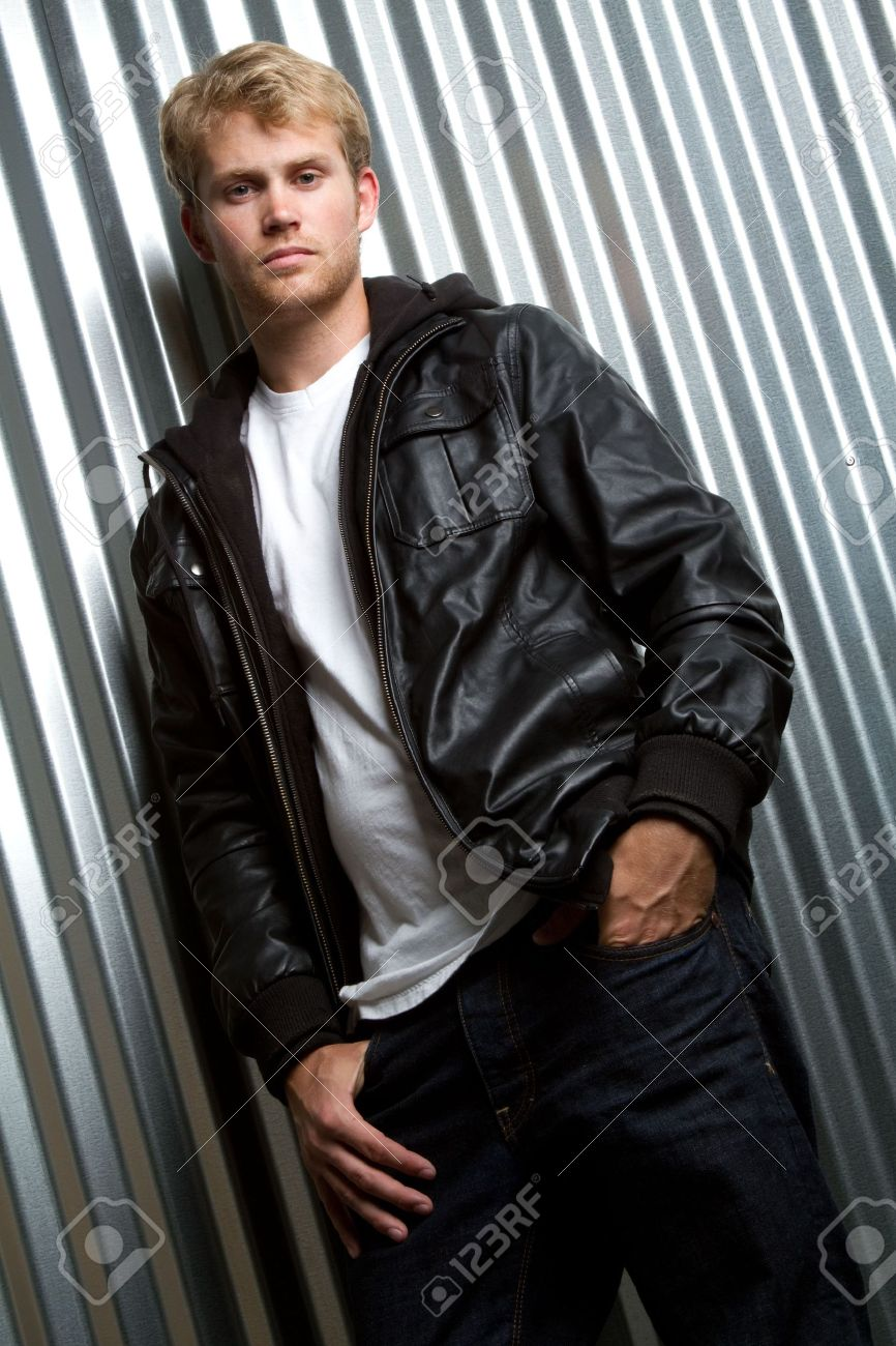 Stock photo young man wearing leather jacket