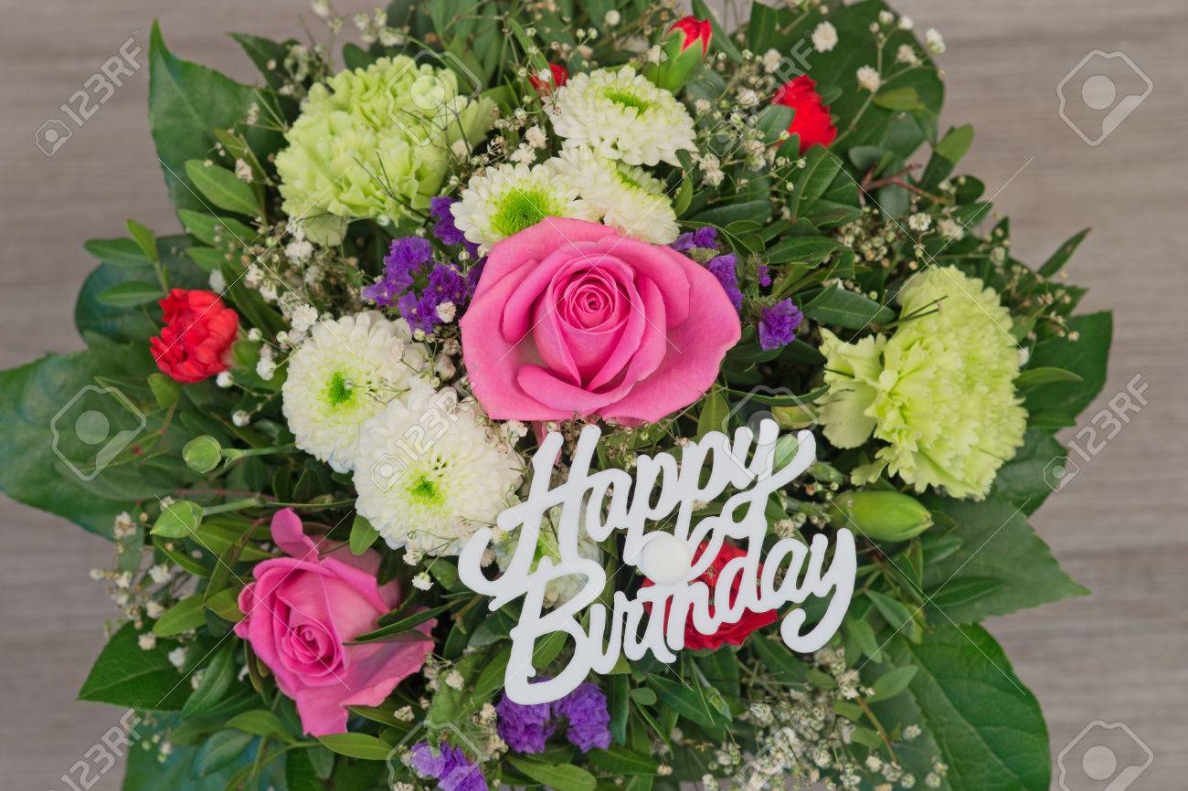 Bouquets De Fleur Bunch Of Colorful Flowers Flower Bouquet With Text Happy Birthday