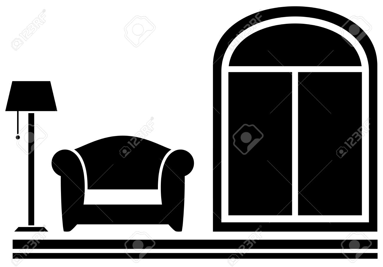 Interieur Icon Black Interior Icon With Armchair Floor Lamp And Window Silhouette