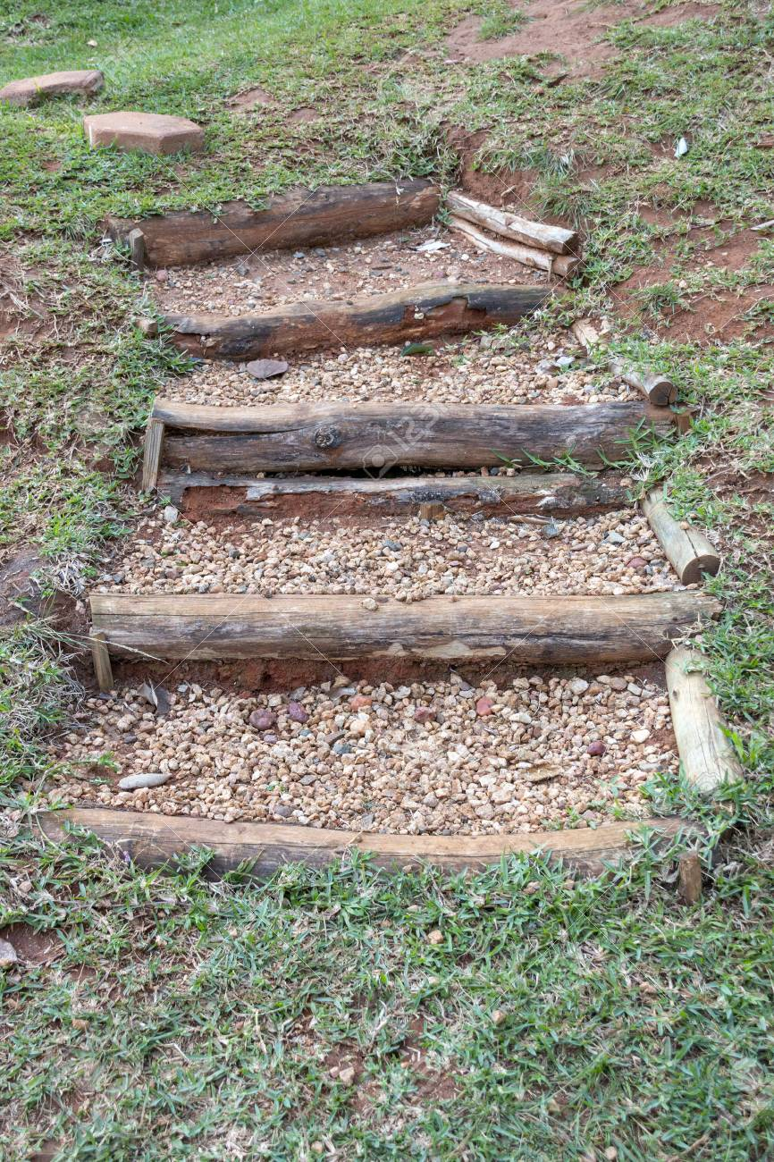 Outside Stairs A Close Up View Of Outside Stairs Made Out Of Tree Braches And