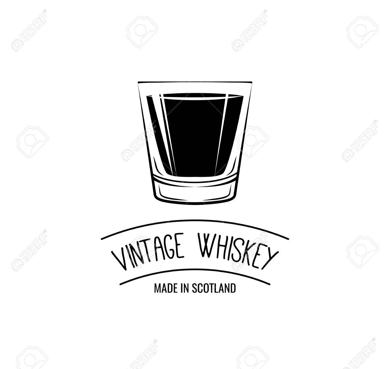 Wisky Glas Vintage Whiskey Label Whisky Glass Vector Illustration