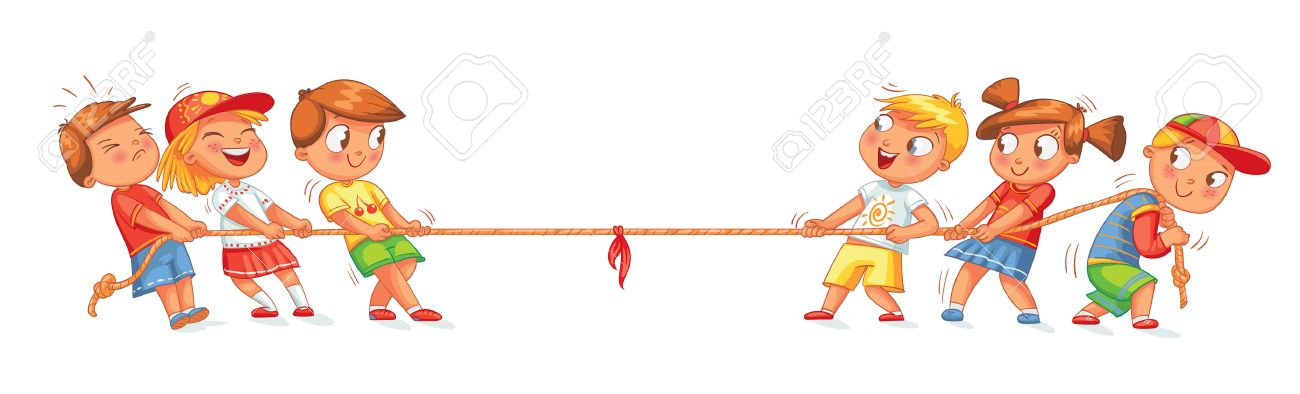 Children Pull The Rope Kids Playing Tug Of War Funny Cartoon - cartoon children play