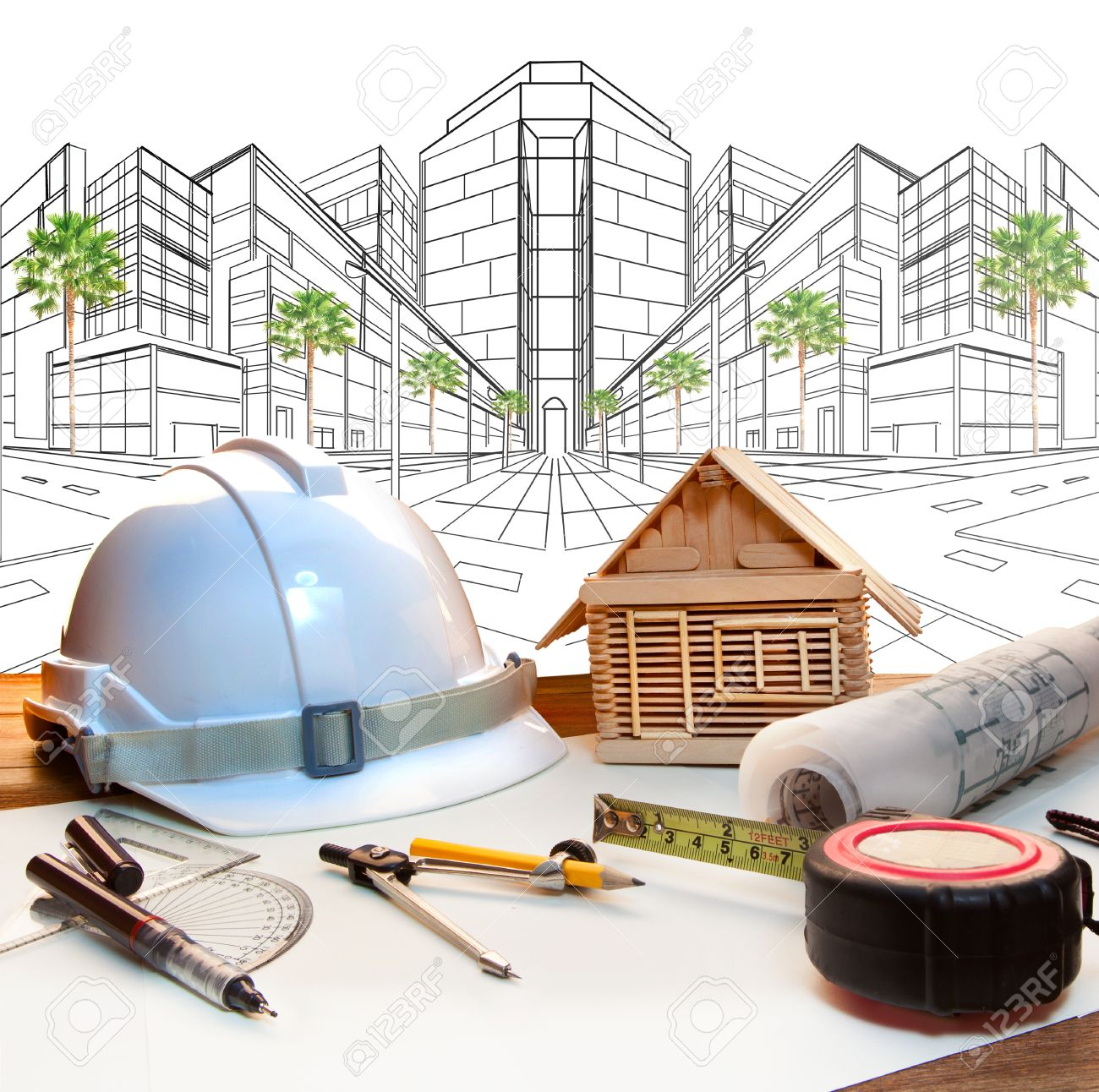 Construction Engineering Building And Architect Working Table And Two Point Perspective Modern Building