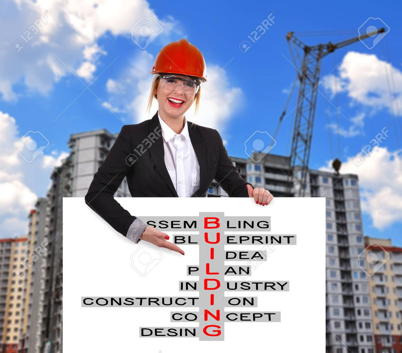 Placard Crossword Engineer Woman Holding Placard With Crossword Construction
