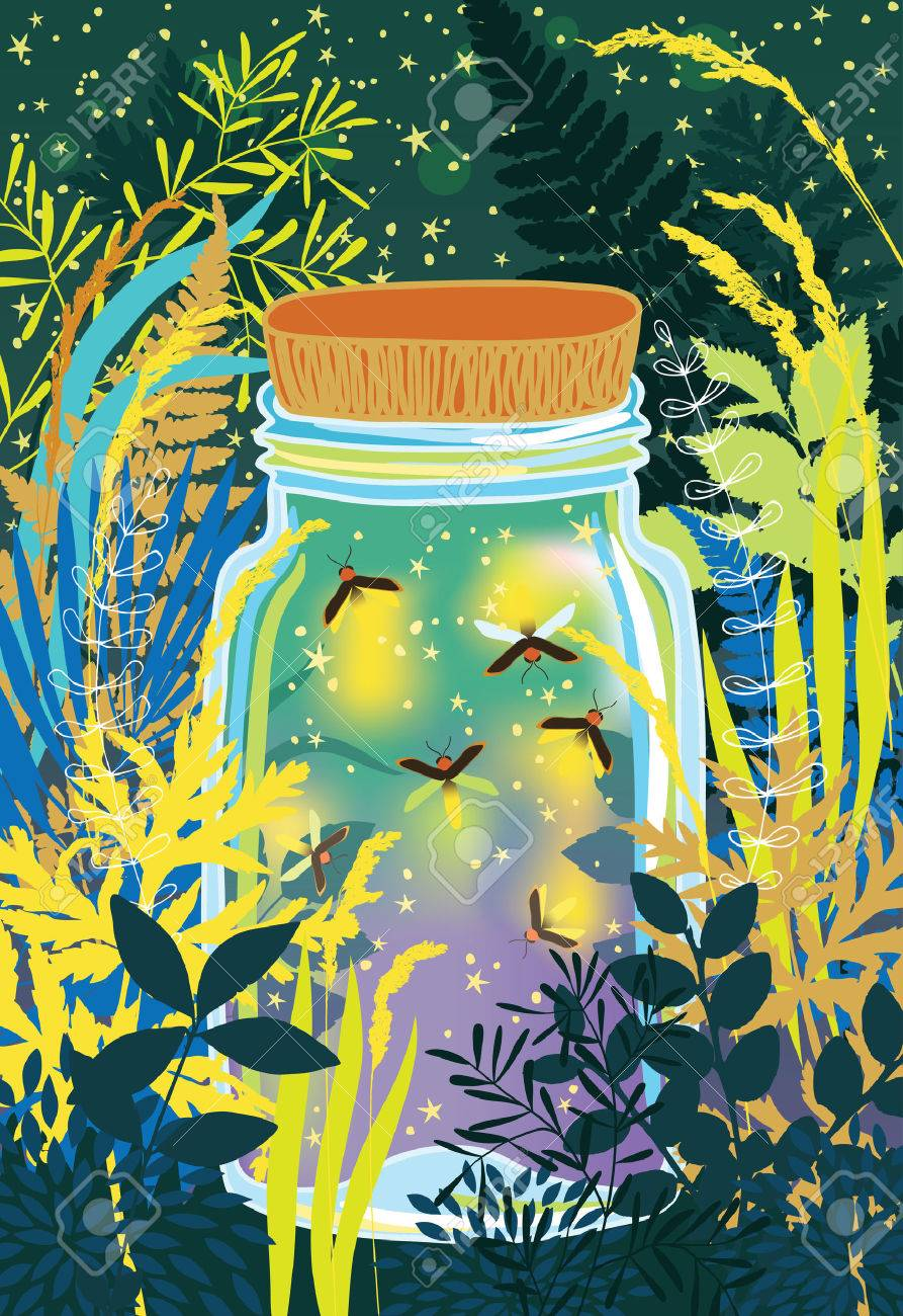 Firefly Jar Art Illustration Of Fireflies In A Glass Jar
