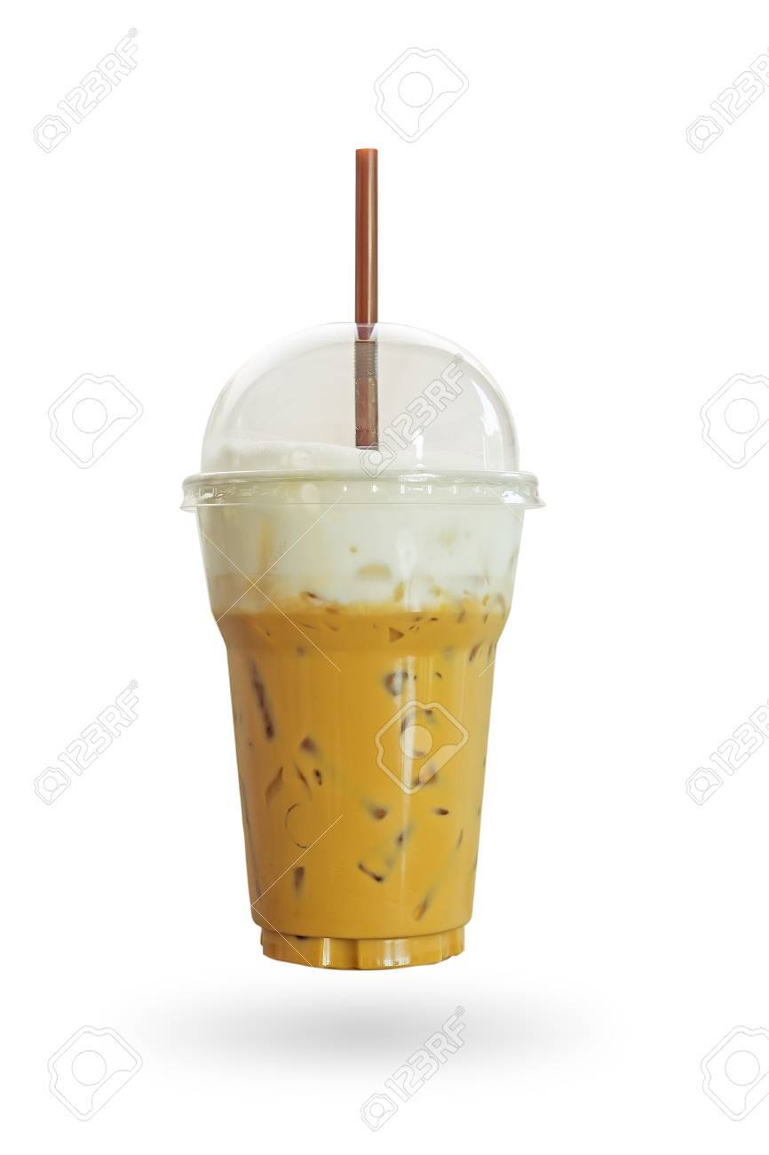 Caffe Latte Iced Coffee Or Caffe Latte With Milk Foam In Takeaway Cup Including