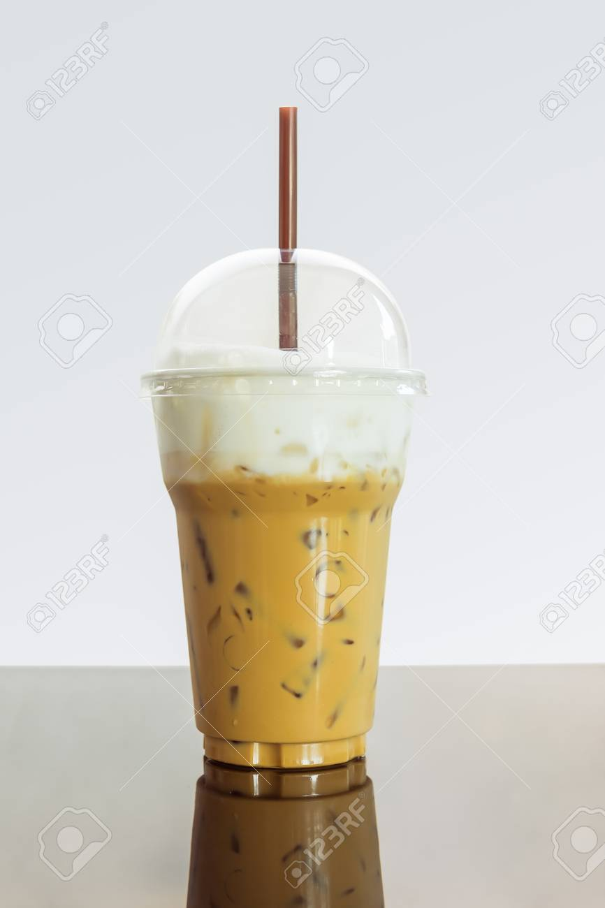 Caffe Latte Iced Coffee Or Caffe Latte With Milk Foam In Takeaway Cup