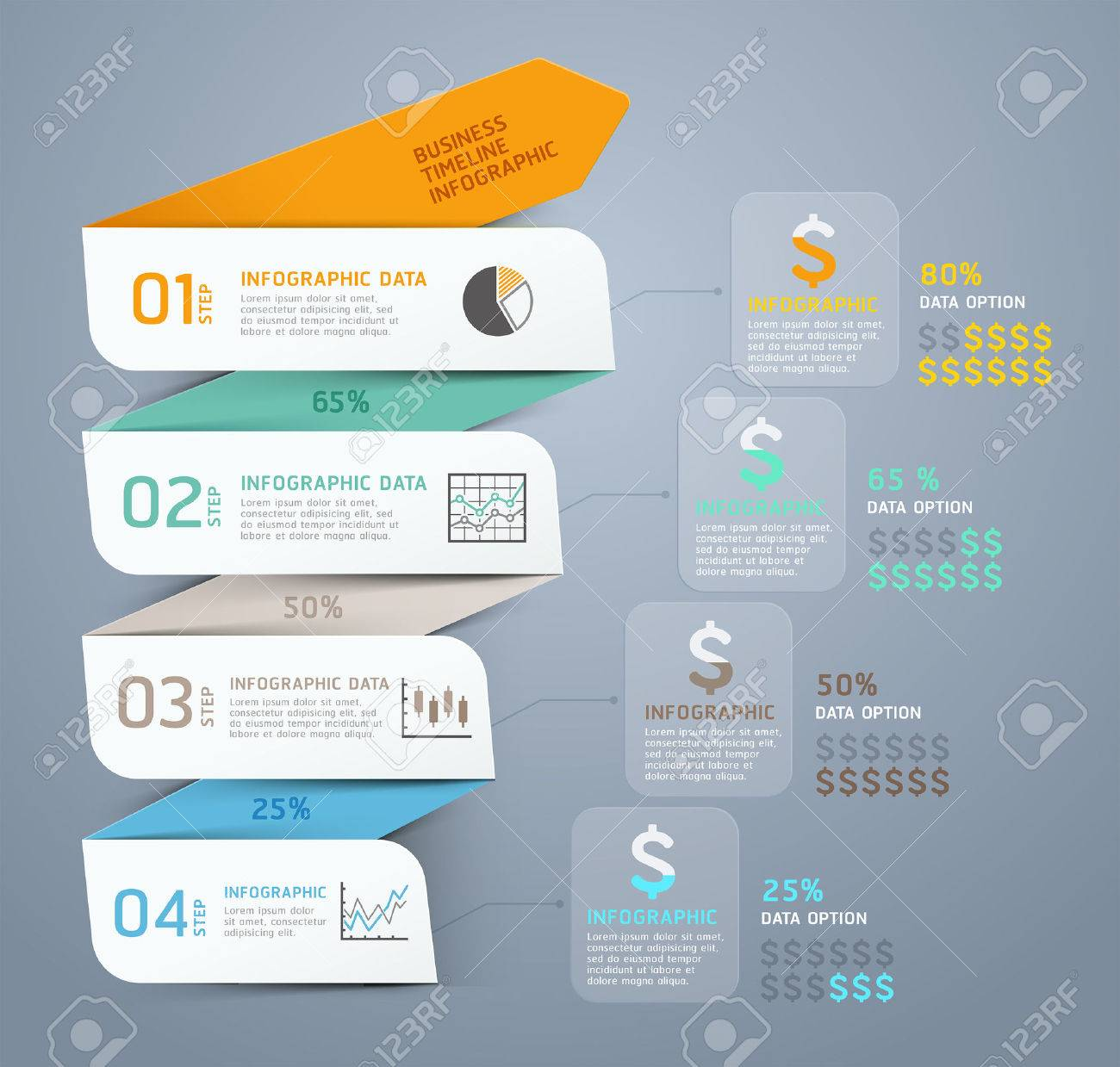 Business Step Business Step Arrow Infographic Template Vector Illustration