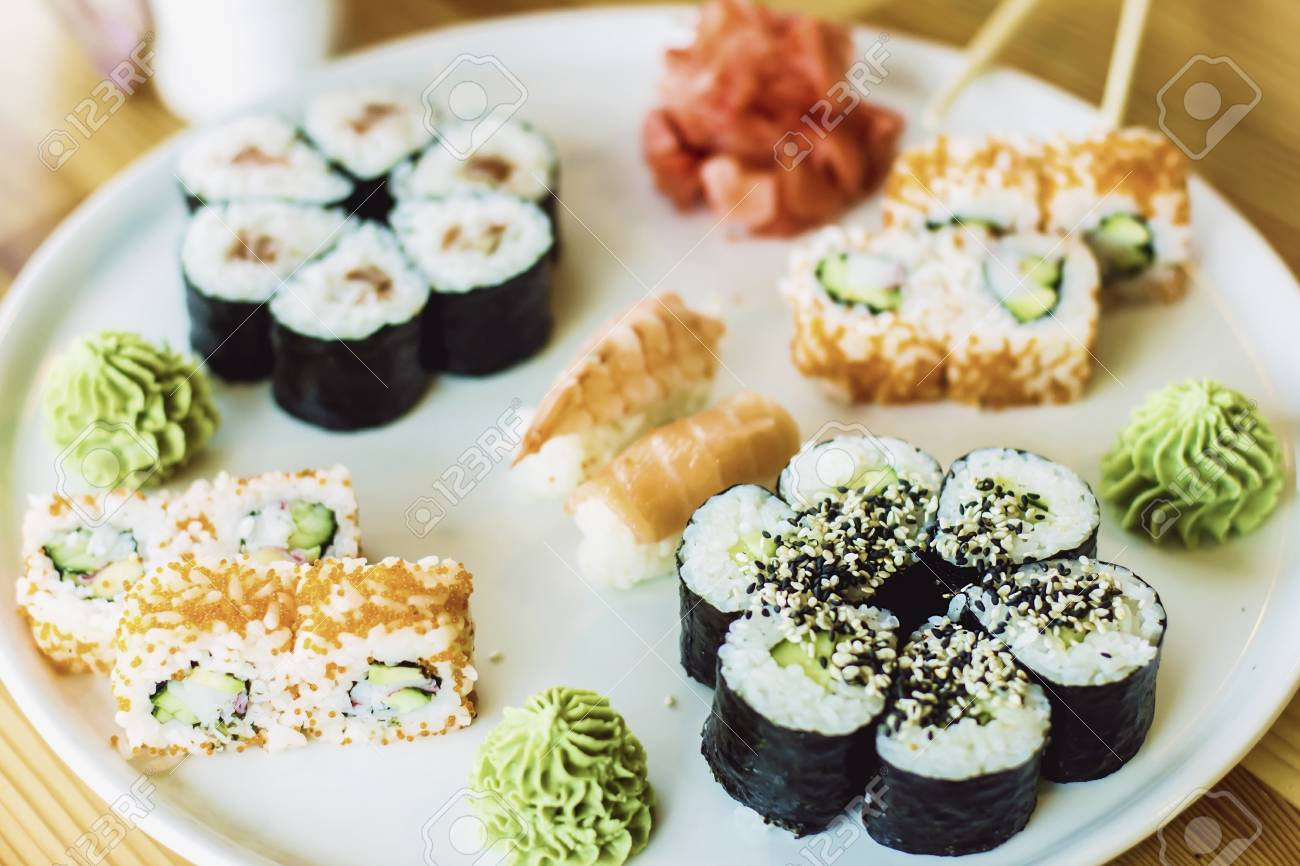 Japanese Cuisine The Best Sushi Rolls Japanese Cuisine Various Delicious Sushi