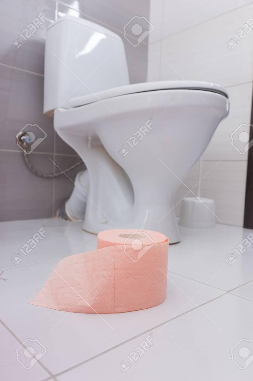 Rouleau De Papier Toilette Rose Tendre Dans Une Salle De Bain Posée Sur Un  Sol Carrelé Blanc Près D Une Toilette Ou D Une Toilette Blanche Vue
