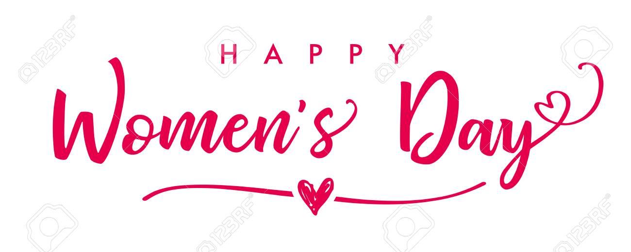 March 8, Happy Women\u0027s Day Elegant Lettering Banner Invitations