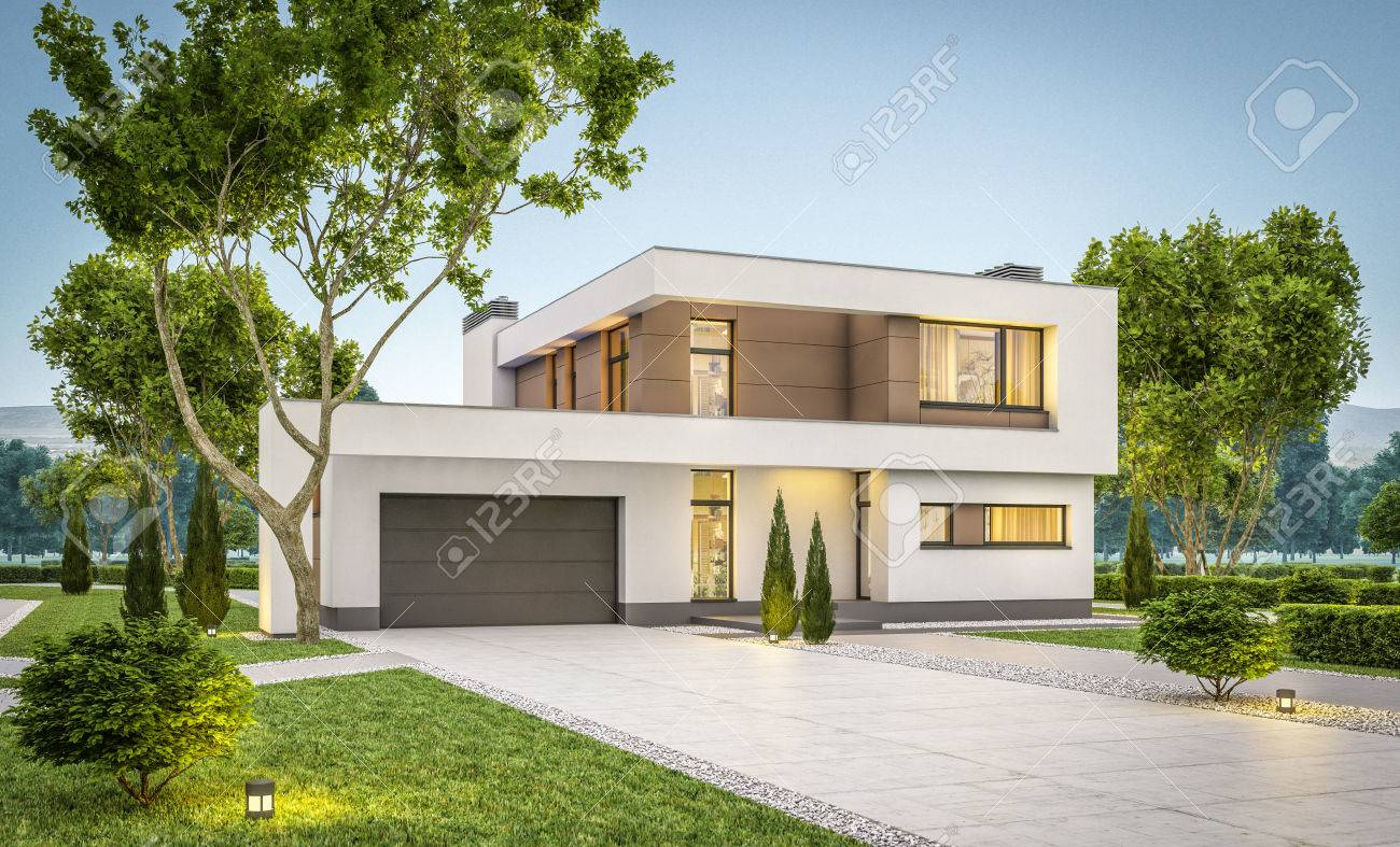 Moderne Garage 3d Rendering Of Modern Cozy House With Garage For Sale Or Rent