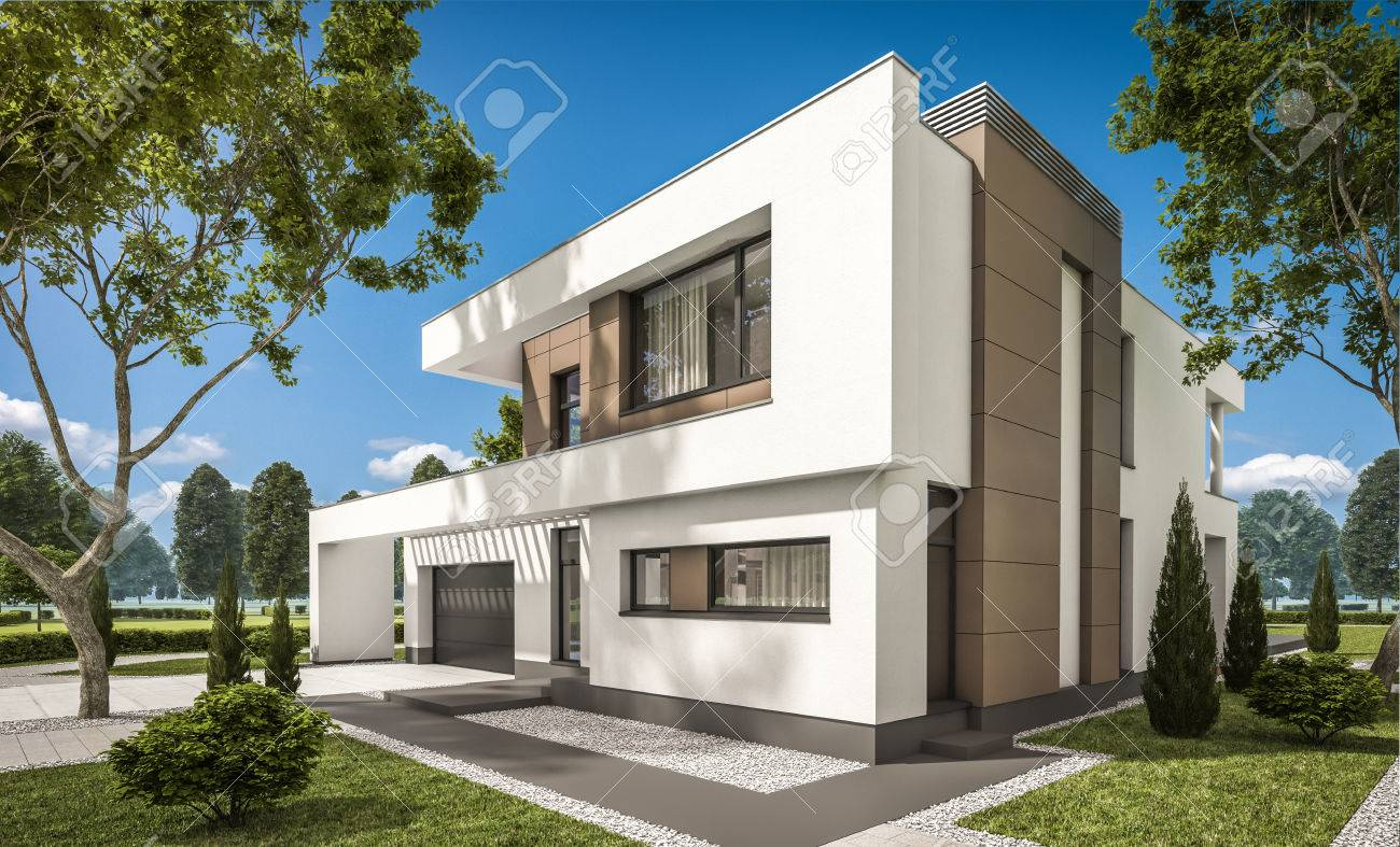 Garage Moderne 3d Rendering Of Modern Cozy House With Garage For Sale Or Rent