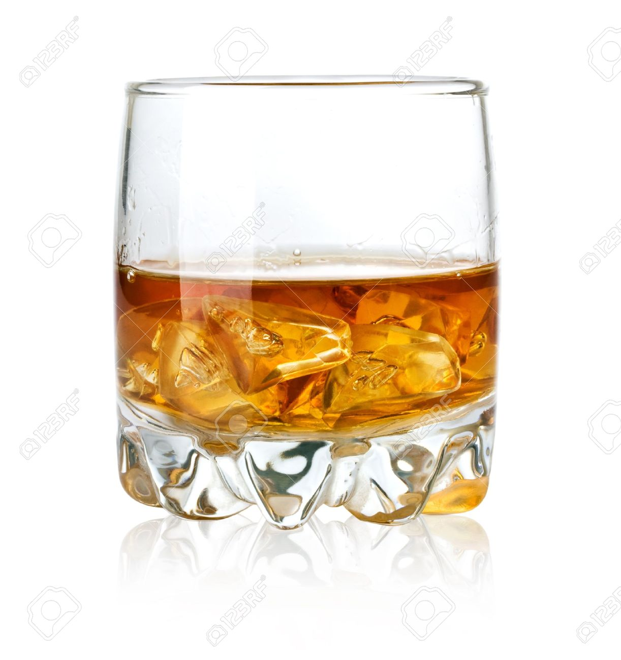 Wisky Glas Whisky Glass And Ice Isolated On White Background