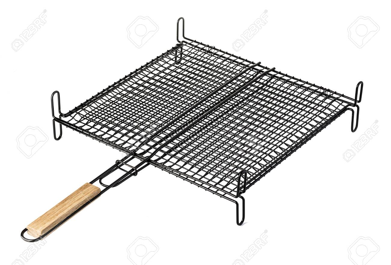 Grill Camping Stainless Barbecue Grill Camping Basket Isolated On White