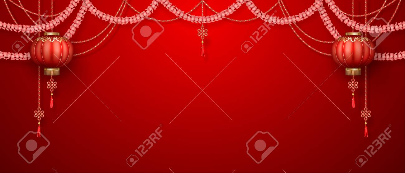 Classic Chinese New Year Background Hanging Silk Lanterns And