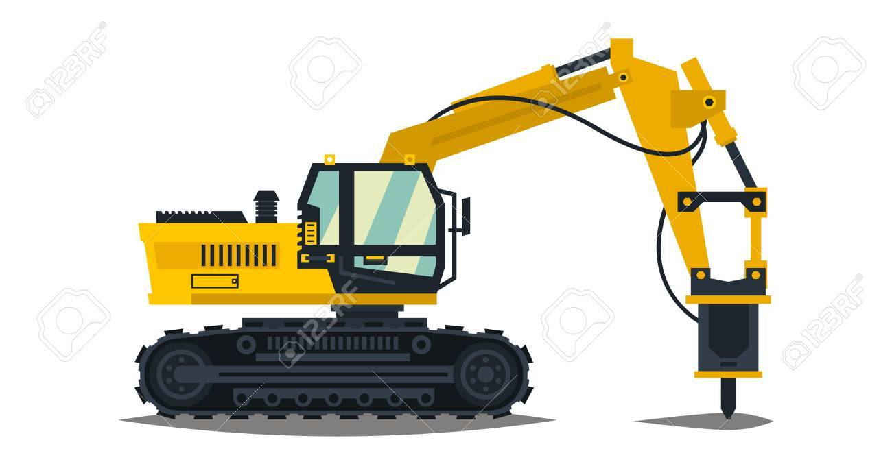 Machine Hydraulic Excavator With His Hammer Hydraulic Crusher Yellow Isolated