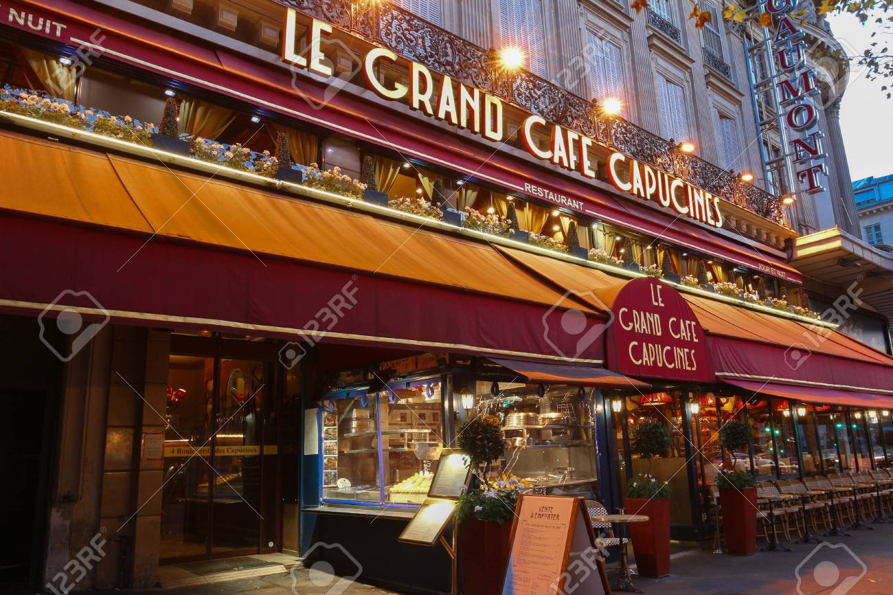 Café Des Capucines Paris Stock Photo