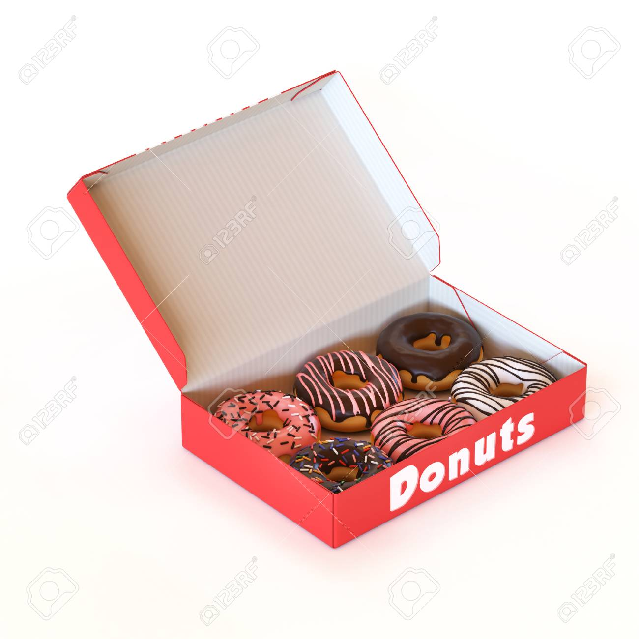 Music Box Kaufen Donut Box Isolated On White Background 3d Rendering