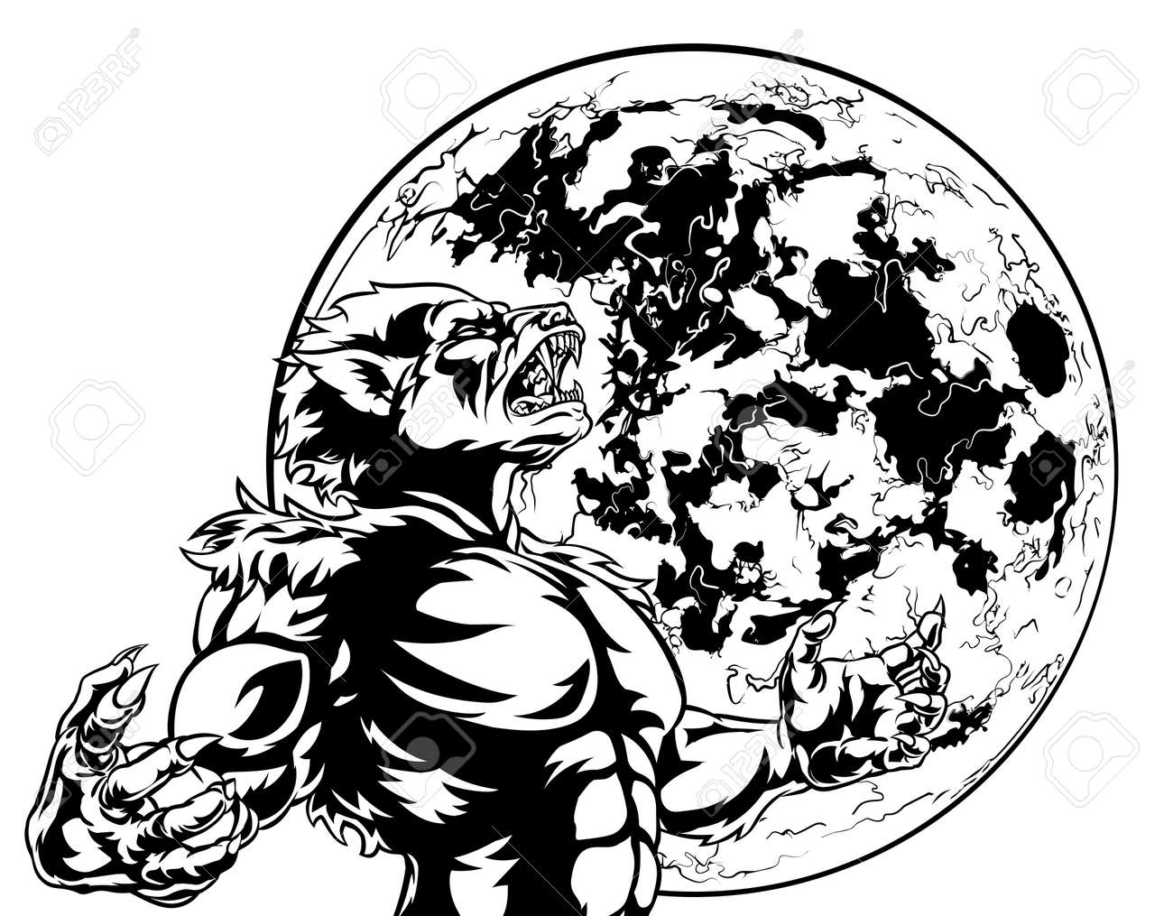 Full Moon Drawing Black And White Howling Werewolf Scary Wolf Man Horror Monster At The Full Moon