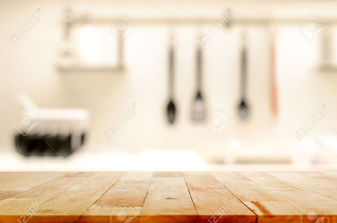 Table Kitchen Wood Table Top As Kitchen Island On Blur Kitchen Background