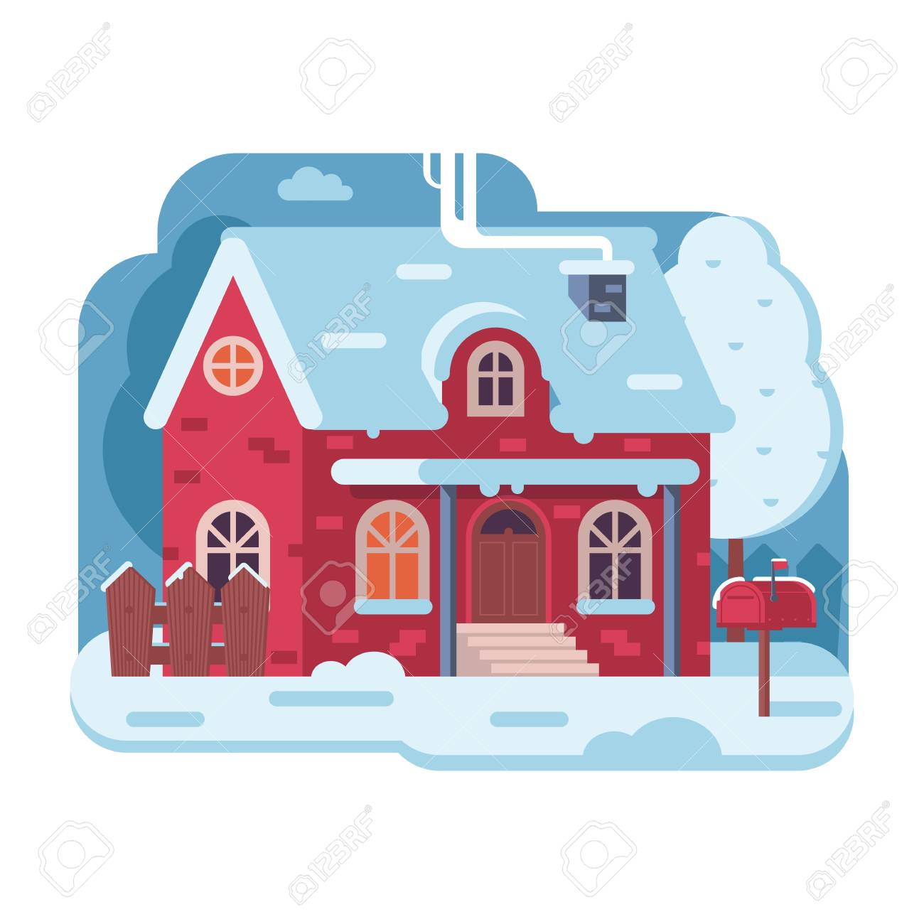 Tradi Home Snowy Scene With Red Farm Winter Home With Smoking Chimney On