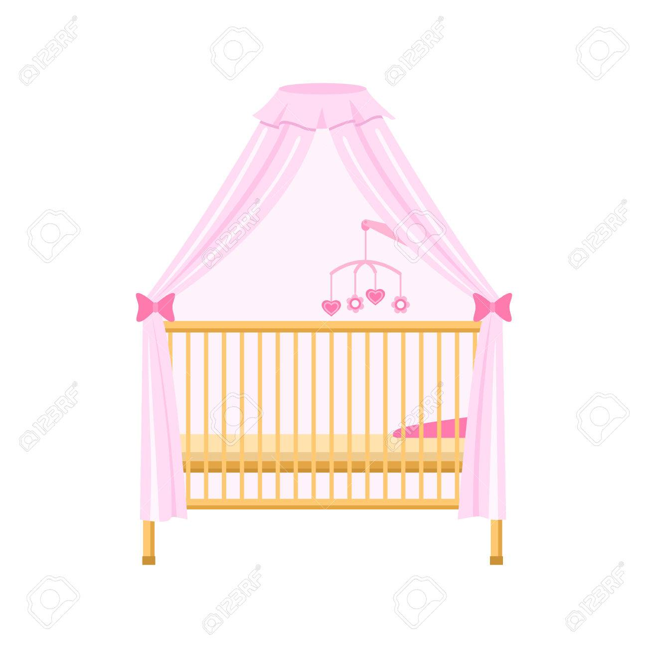 Wooden Baby Mobile Wooden Baby Cot Isolated On A White Background Vector Illustration