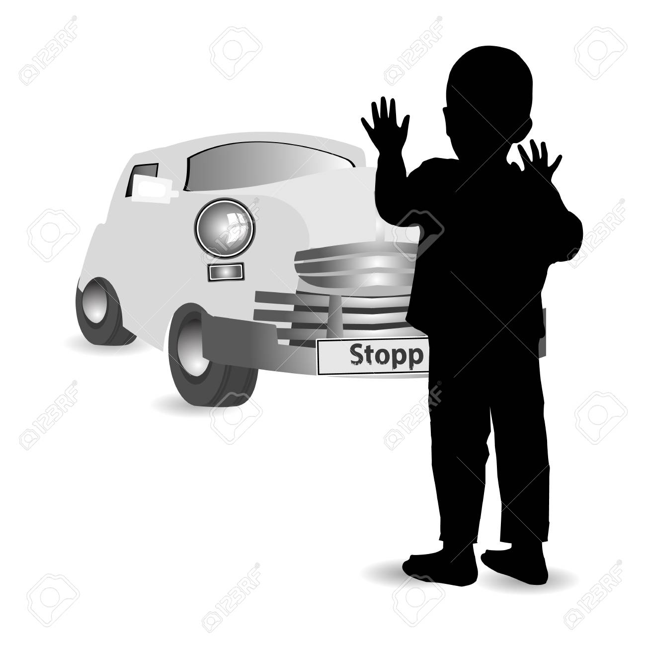 Trabant Clipart Child Safety On The Ground Car Accident Concept Silhouette