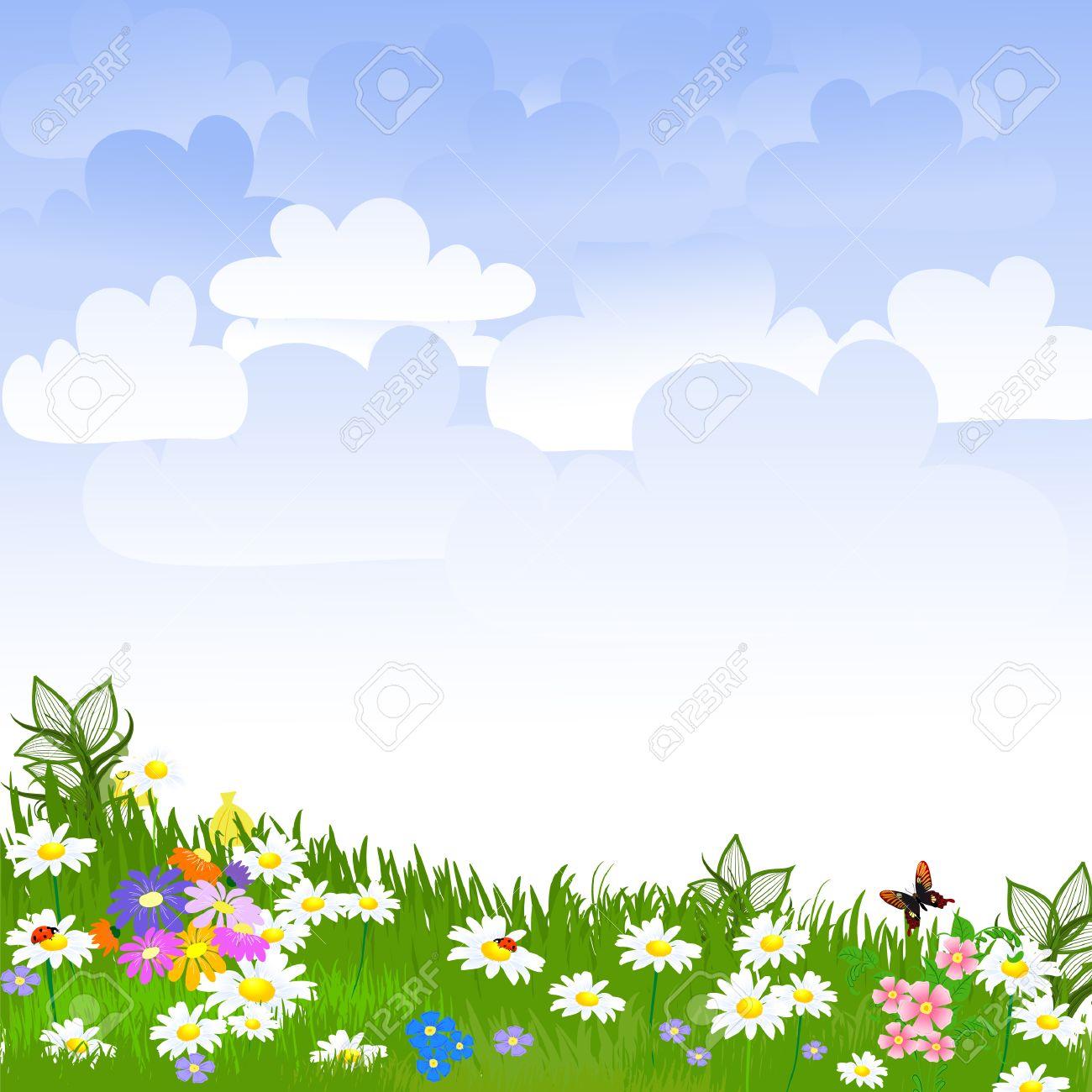 Flower garden flower clearing illustration
