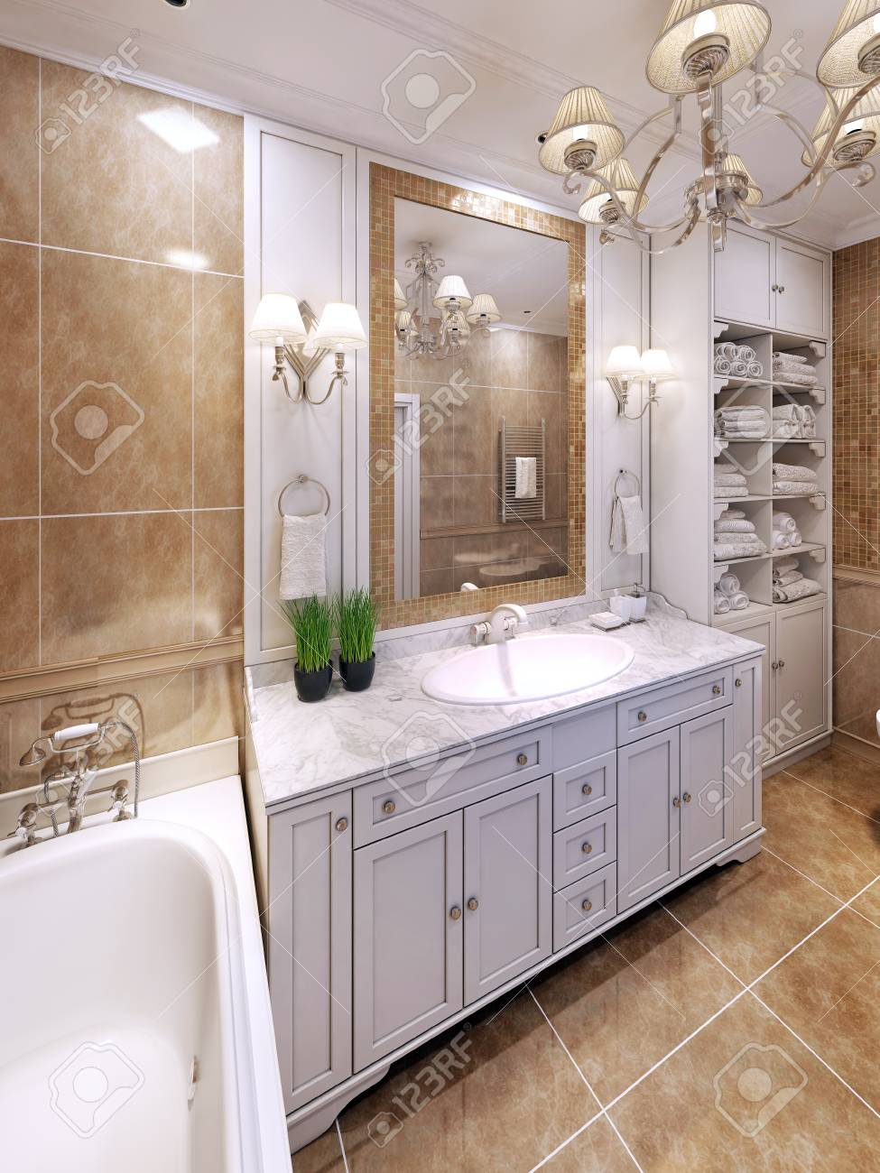 Classic Bathroom Design Idea Of Luxury Classic Bathroom Design 3d Render