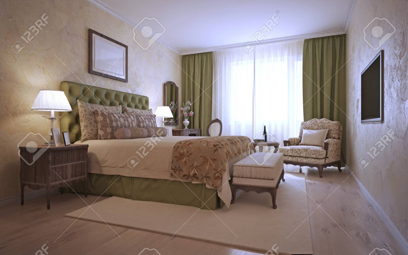 Mediterranes Schlafzimmer Stock Photo