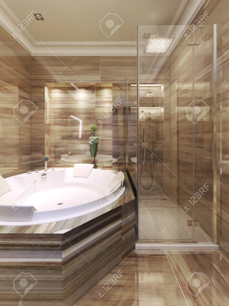 Art Deco Bathroom Art Deco Bathroom With Shower 3d Render