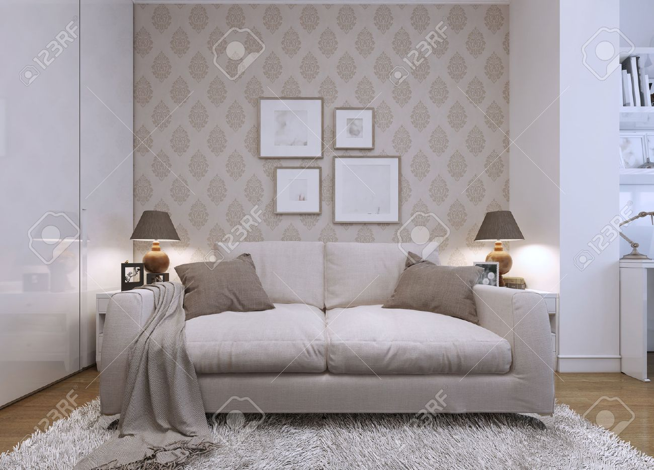 Sofa Beige Beige Sofa In The Living Room In A Modern Style Wallpaper On