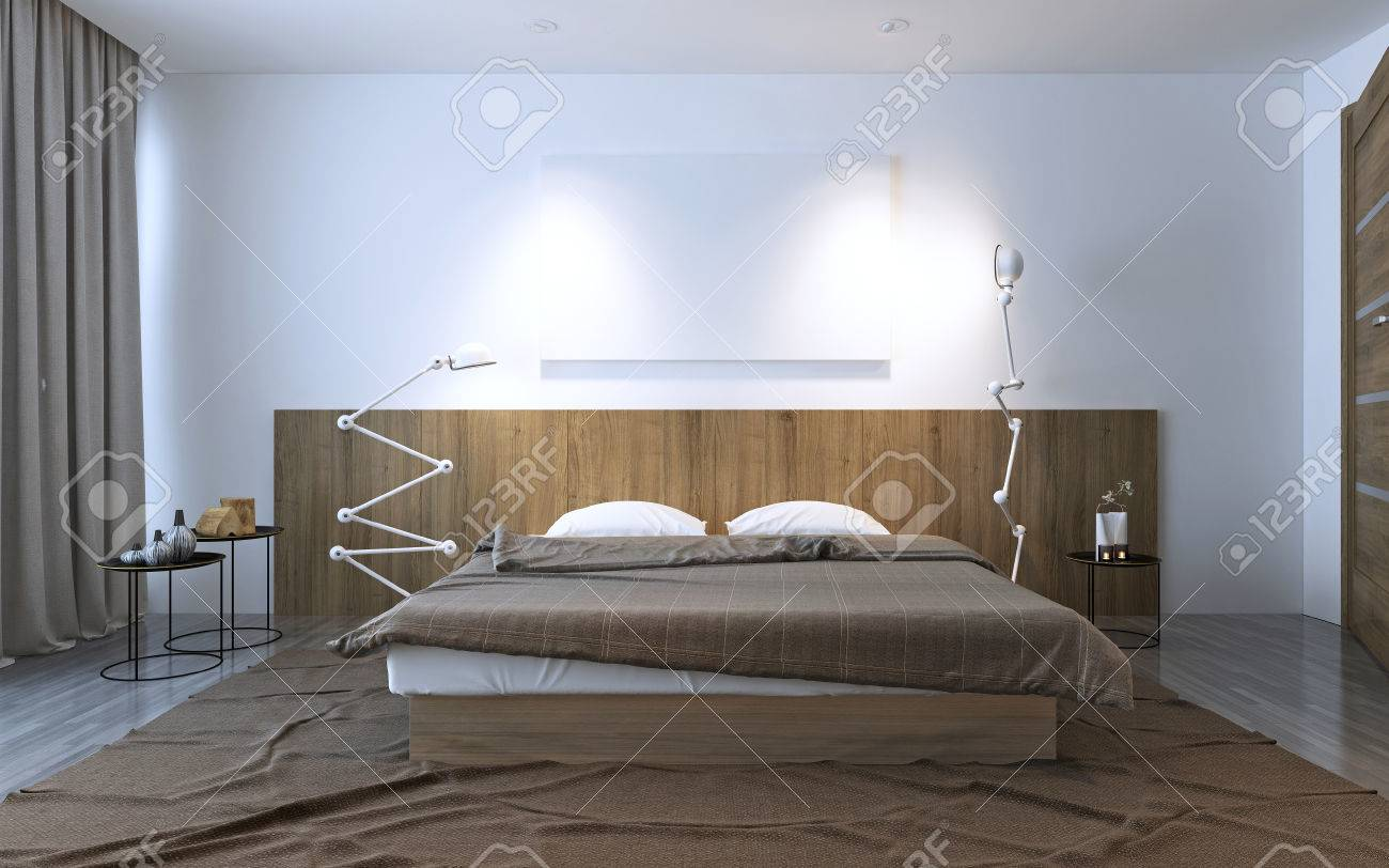 Schlafzimmer Ideen Braunes Bett Stock Photo