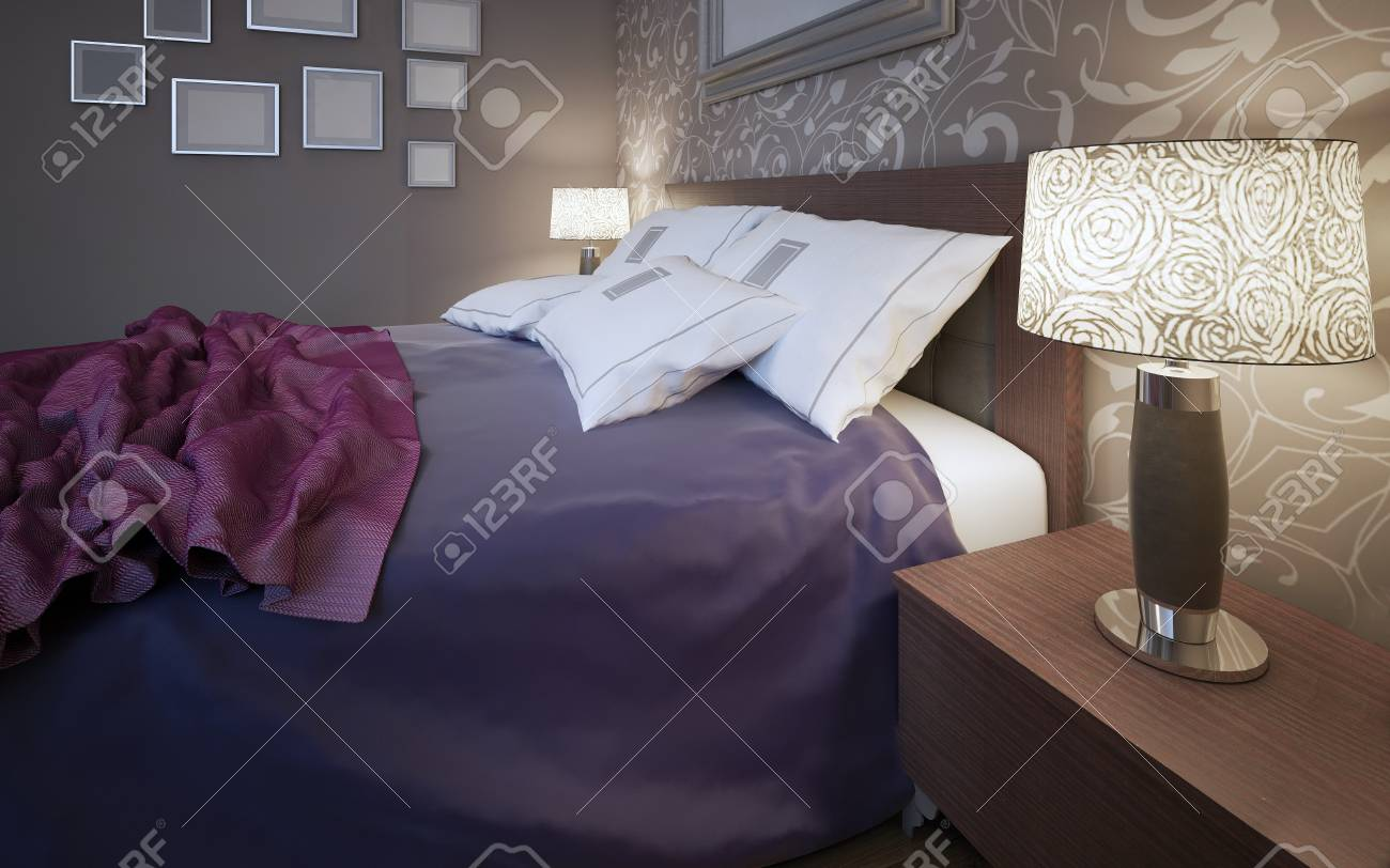 Schlafzimmer Lampe Bunt Stock Photo