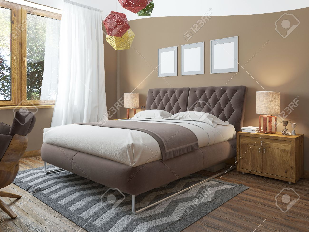 Schlafzimmer Hell Grau Stock Photo