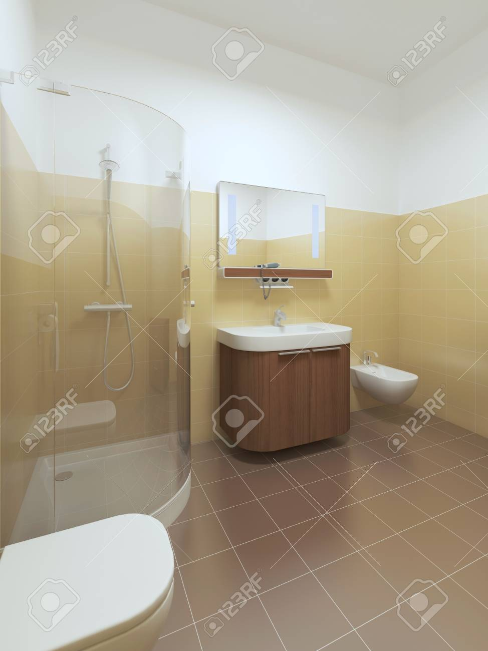 Badezimmer Mit Gelb Stock Photo